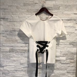 Zara corset style shirt in white